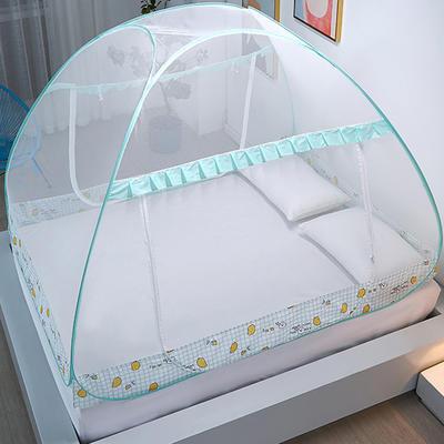 新款蒙古包蚊帐免安装1.8m床学生宿舍1.5床上下铺儿童防摔 1.5m(5英尺)床 柠檬