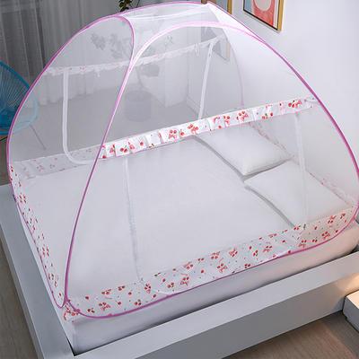 新款蒙古包蚊帐免安装1.8m床学生宿舍1.5床上下铺儿童防摔 1.2*2M床 小樱桃
