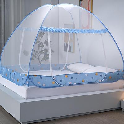 新款蒙古包蚊帐免安装1.8m床学生宿舍1.5床上下铺儿童防摔 1.5m(5英尺)床 星球