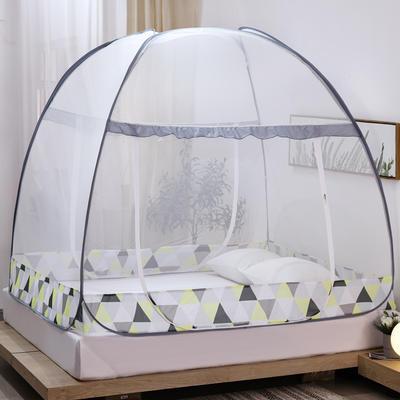 新款蒙古包蚊帐免安装1.8m床学生宿舍1.5床上下铺儿童防摔 1.8m(6英尺)床 几何空间