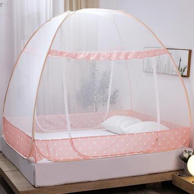 新款蒙古包蚊帐免安装1.8m床学生宿舍1.5床上下铺儿童防摔 1.8m(6英尺)床 波点  粉色