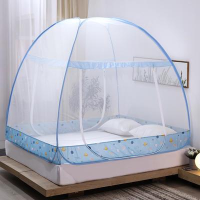新款蒙古包蚊帐免安装1.8m床学生宿舍1.5床上下铺儿童防摔 1.8m(6英尺)床 星球
