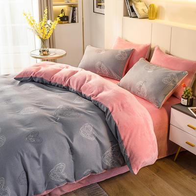2020-时尚法莱绒四件套加厚法兰绒四件套 床单款1.8m(6英尺)床 奥兰