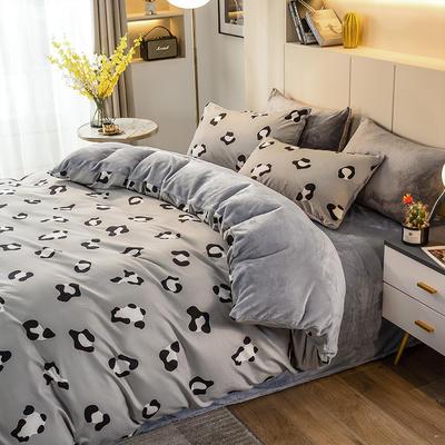 2020-时尚法莱绒四件套加厚法兰绒四件套 床单款1.8m(6英尺)床 剪影魅力