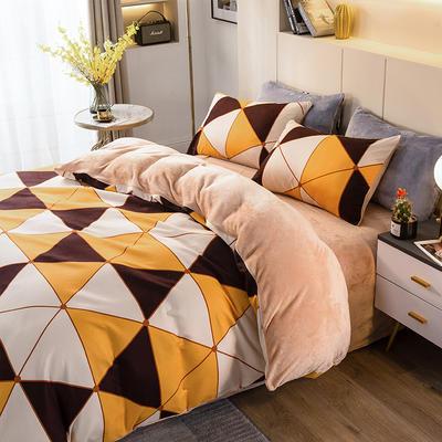 2020-时尚法莱绒四件套加厚法兰绒四件套 床单款1.8m(6英尺)床 菱格