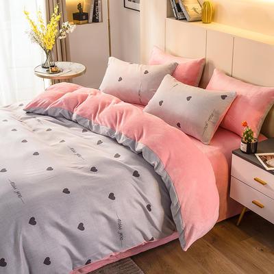 2020-时尚法莱绒四件套加厚法兰绒四件套 床单款1.8m(6英尺)床 遇见灰
