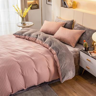 2020-时尚法莱绒四件套加厚法兰绒四件套 床单款1.8m(6英尺)床 淑女格