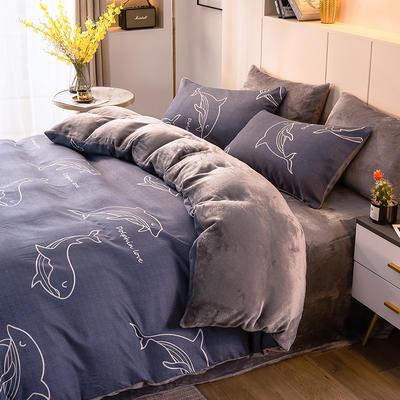 2020-时尚法莱绒四件套加厚法兰绒四件套 床单款1.8m(6英尺)床 小鲸鱼