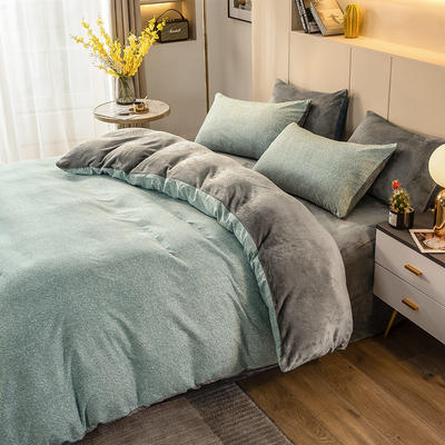 2020-时尚法莱绒四件套加厚法兰绒四件套 床单款1.8m(6英尺)床 蓝雪
