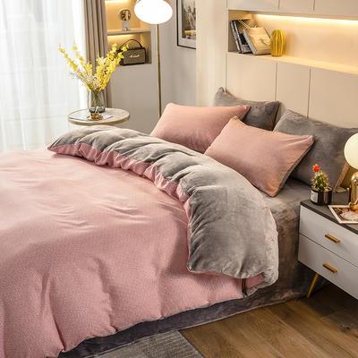 2020-时尚法莱绒四件套加厚法兰绒四件套 床单款1.8m(6英尺)床 粉黛