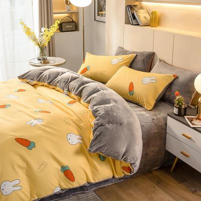 2020-时尚法莱绒四件套加厚法兰绒四件套 床单款1.5m(5英尺)床 萝卜兔