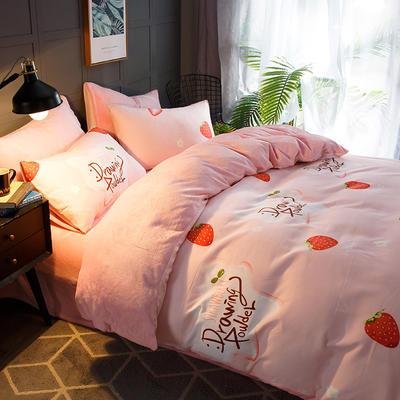 2020-时尚法莱绒四件套加厚法兰绒四件套 床单款1.5m(5英尺)床 草莓派