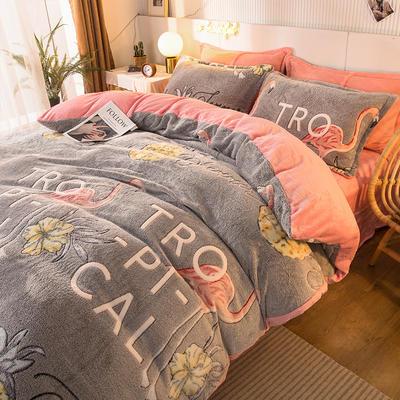 2020款雪花绒四件套3.2kg加厚法莱绒保暖套件 床单款1.8m(6英尺)床 凤梨鸟
