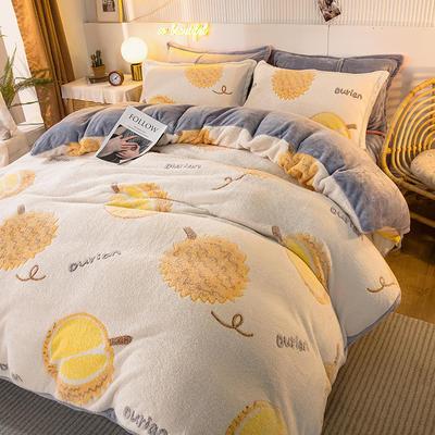 2020款雪花绒四件套3.2kg加厚法莱绒保暖套件 床单款1.5m(5英尺)床 水果榴莲