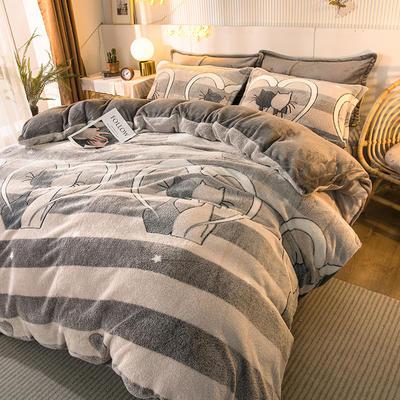 2020款雪花绒四件套3.2kg加厚法莱绒保暖套件 床单款1.8m(6英尺)床 相濡以沫