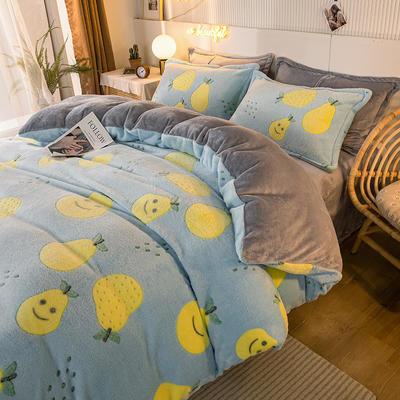 2020款雪花绒四件套3.2kg加厚法莱绒保暖套件 床单款1.5m(5英尺)床 笑脸鸭梨