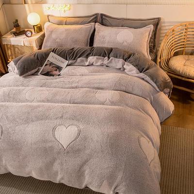 2020款雪花绒四件套3.2kg加厚法莱绒保暖套件 床单款1.8m(6英尺)床 一心一意