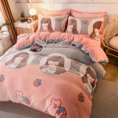 2020款雪花绒四件套3.2kg加厚法莱绒保暖套件 床单款1.8m(6英尺)床 草莓女孩