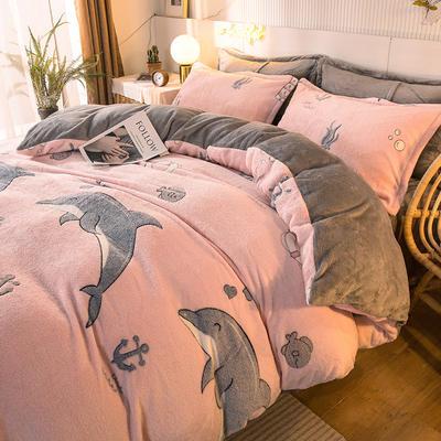 2020款雪花绒四件套3.2kg加厚法莱绒保暖套件 床单款1.5m(5英尺)床 海洋世界