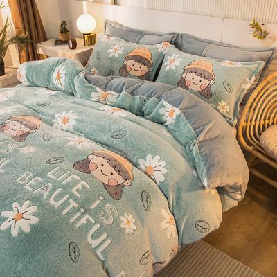 2020款雪花绒法莱绒四件套加厚 床单款1.5m(5英尺)床 花朵女孩