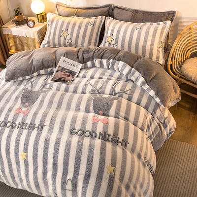 2020款雪花绒法莱绒四件套加厚 床单款1.5m(5英尺)床 晚安星空