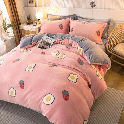 2020款雪花绒四件套3.2kg加厚法莱绒保暖套件 床单款1.8m(6英尺)床 草莓圣代