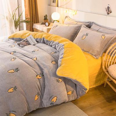 2020款雪花绒四件套3.2kg加厚法莱绒保暖套件 床单款1.8m(6英尺)床 抽象菠萝-灰