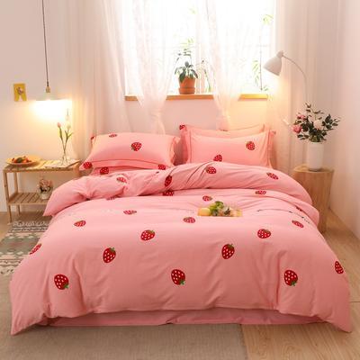2020新款-全棉生态磨毛四件套 1.2m床单款三件套 草莓心晴