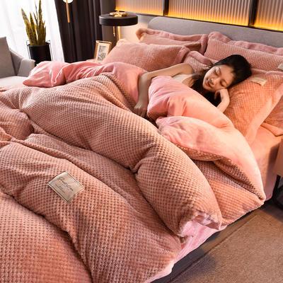 2020秋冬新品加厚菠萝格四件套法莱绒纯色牛奶绒工艺款 1.8m(6英尺)床 布拉格-浪漫粉