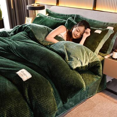 2020秋冬新品加厚菠萝格四件套法莱绒纯色牛奶绒工艺款 1.8m(6英尺)床 布拉格-墨绿