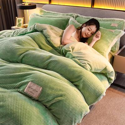 2020秋冬新品加厚菠萝格四件套法莱绒纯色牛奶绒工艺款 1.8m(6英尺)床 布拉格-浅绿