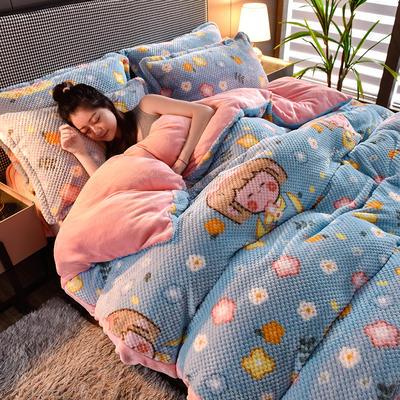 2020秋冬新品加厚菠萝格四件套法莱绒印花牛奶绒 1.8m(6英尺)床 邻家女孩