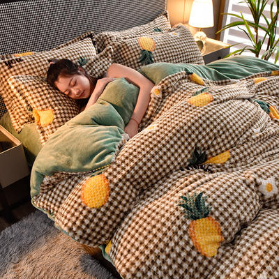2020秋冬新品加厚菠萝格四件套法莱绒印花牛奶绒 1.8m(6英尺)床 曼格