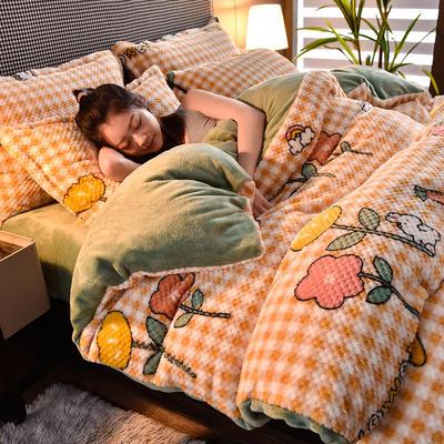 2020秋冬新品加厚菠萝格四件套法莱绒印花牛奶绒 1.8m(6英尺)床 漫步花丛
