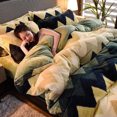 2020秋冬新品加厚菠萝格四件套法莱绒印花牛奶绒 1.8m(6英尺)床 梦境-绿