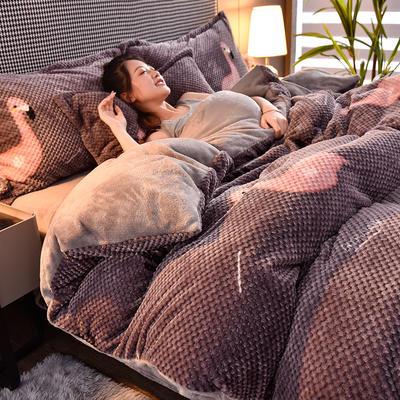 2020秋冬新品加厚菠萝格四件套法莱绒印花牛奶绒 1.8m(6英尺)床 浅吟