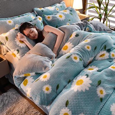 2020秋冬新品加厚菠萝格四件套法莱绒印花牛奶绒 1.8m(6英尺)床 秋菊赋
