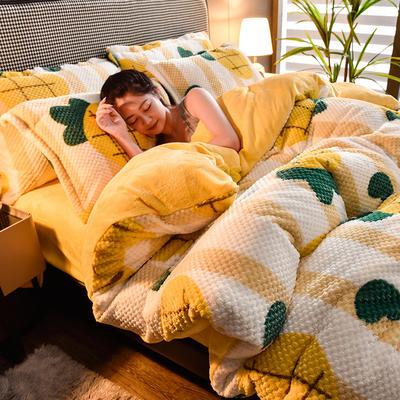 2020秋冬新品加厚菠萝格四件套法莱绒印花牛奶绒 1.8m(6英尺)床 水果派
