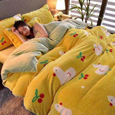 2020秋冬新品加厚菠萝格四件套法莱绒印花牛奶绒 1.8m(6英尺)床 樱桃小鸭子