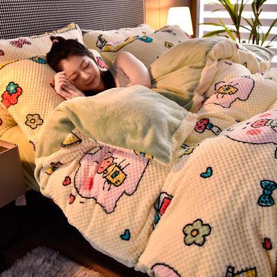 2020秋冬新品加厚菠萝格四件套法莱绒印花牛奶绒 1.8m(6英尺)床 猪猪女孩