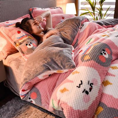 2020秋冬新品加厚菠萝格四件套法莱绒印花牛奶绒 1.5m(5英尺)床 布朗熊可妮兔