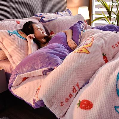 2020秋冬新品加厚菠萝格四件套法莱绒印花牛奶绒 1.8m(6英尺)床 动漫糖果