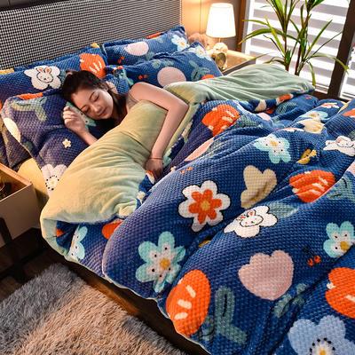 2020秋冬新品加厚菠萝格四件套法莱绒印花牛奶绒 1.8m(6英尺)床 花花世界