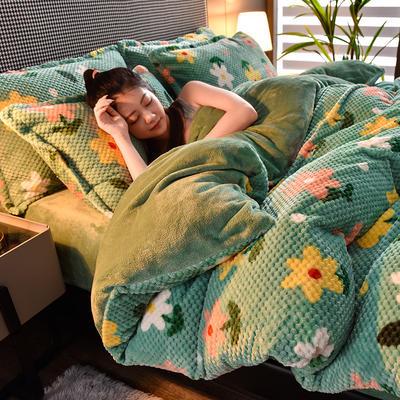 2020秋冬新品加厚菠萝格四件套法莱绒印花牛奶绒 1.5m(5英尺)床 花开半夏