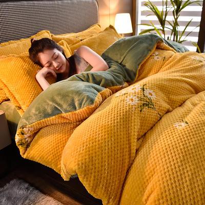 2020秋冬新品加厚菠萝格四件套法莱绒印花牛奶绒 1.8m(6英尺)床 花语-黄