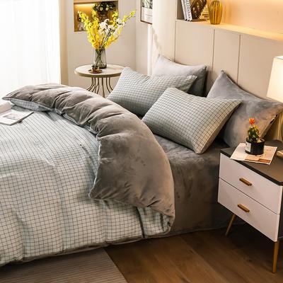 2020-时尚法莱绒四件套加厚法兰绒四件套 床单款1.8m(6英尺)床 伊格蓝