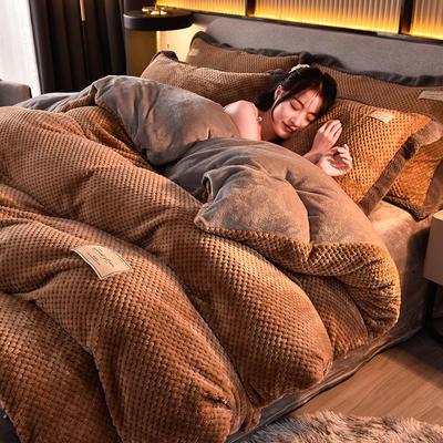 2020秋冬新品加厚菠萝格四件套法莱绒纯色牛奶绒工艺款 1.8m(6英尺)床 布拉格-奶茶咖