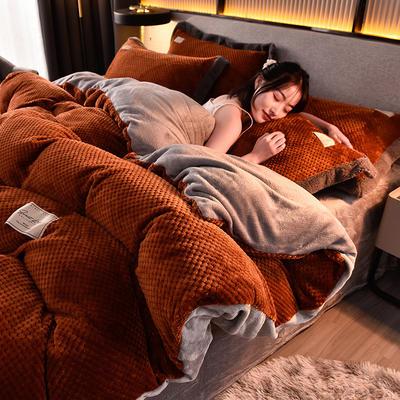 2020秋冬新品加厚菠萝格四件套法莱绒纯色牛奶绒工艺款 1.8m(6英尺)床 布拉格-焦糖