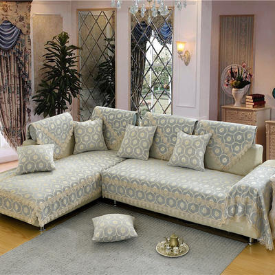 沙发垫 90*90 蕉叶纹-银灰