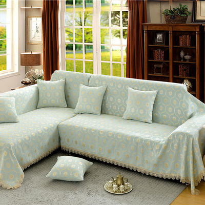 沙发罩 180*150 蕉叶纹(浅绿)